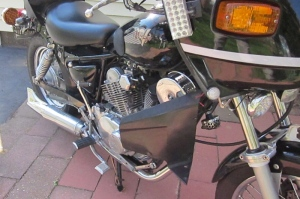 Fishtail exhaust tip added to Supertrapp muffler on Virago 250