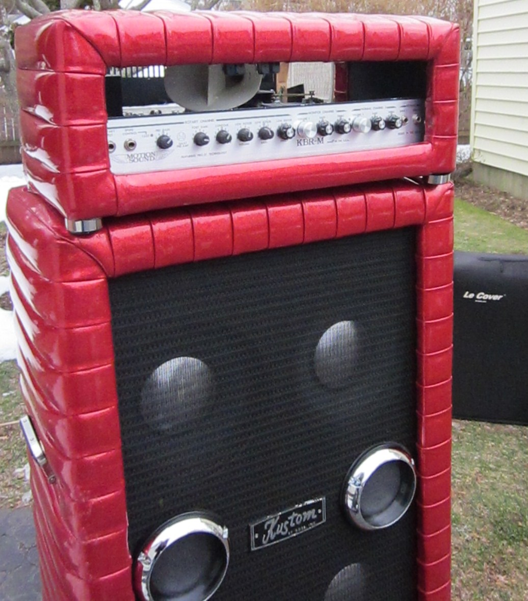 Kustom 1x12 Cabinet Motion Sound Leslie In Kustom Cabinet On Top Of Kustom 4x10 Copy1jpg