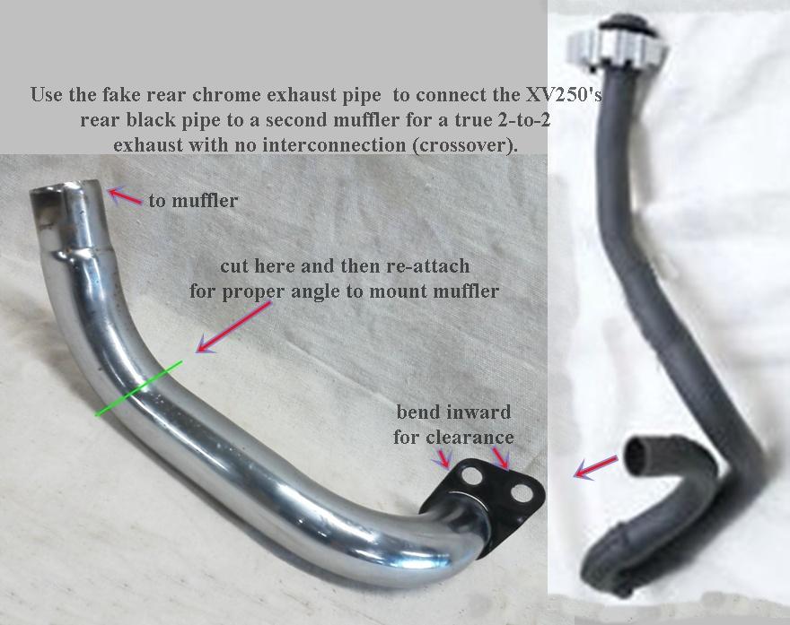 fake-chrome-exh-pipe-xv250 step 4 final & Exhaust | virago250street