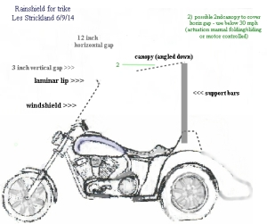 Virago 250 trike with rain shield